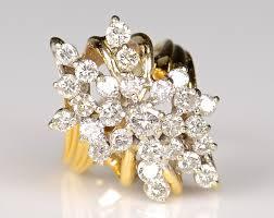 cluster rings 369 10k diamond waterfall cluster ring