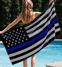Black And Blue Flag Thin Blue Line Flag Towel Support Police Beach U0026 Bath Towel