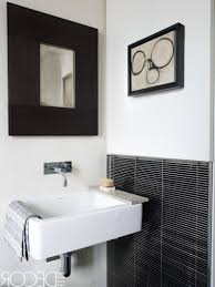 black and white floor tile bathroom white wall mounted sink white