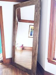 x large wooden frame floor mirror by silverstems on etsy https