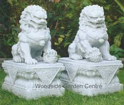 marble resin temple foo dogs home or garden ornament woodside