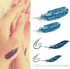 set of wrist tattoo decal feather temporary sticker transfer hand