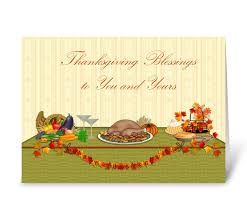 thanksgiving blessings dinner table send this greeting card