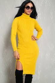 yellow sweater dress mustard cable knit turtleneck sweater dress