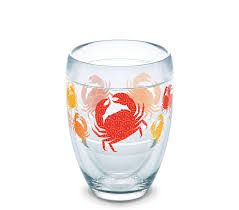 all over crab print 9 oz double wall stemless wine glass by tervis