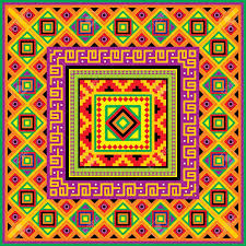 square background with a mexican ornament royalty free cliparts