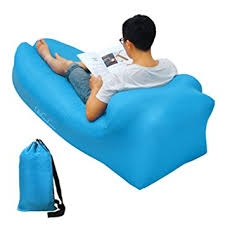 amazon com inflatable lounger air sofa fast inflate by wind or