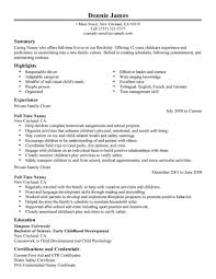 Caregiver Resume Template Nanny Resume Examples