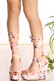 blush floral print wrap around lace up open toe wedges womens