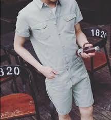 mens one jumpsuit mens single button sleeve one jumpsuit romper summer