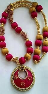 pink necklace set images Pink colour silk thread necklace set at rs 650 set divya silk jpg
