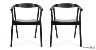 Black Dining Chairs 2 X Greta Wood Dining Chair With Arms Black Wood Dining Chair