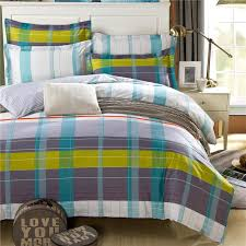 Blue Striped Comforter Set Modern Style Mens Or Boys Bedding Set Grey Blue Yellow Stripes
