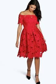 boohoo clothing boutique shoulder lace skater dress boohoo