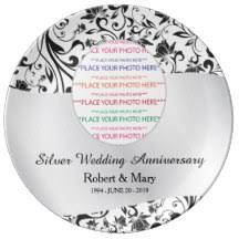 25th wedding anniversary plates 25th anniversary plates zazzle co uk