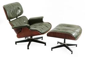 early green leather u0026 rosewood eames lounge chair u0026 ottoman red