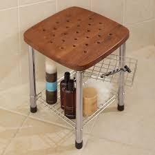 Bathroom Caddy Ideas by Bathroom Appealing Wooden Teak Shower Bench Plus Shelf For