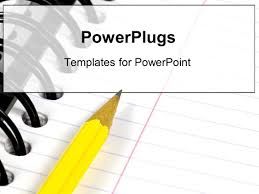 colored writing paper powerpoint template notebook with colored paper fanned open on powerplugs powerpoint template with a yellow pencil writing in a notebook or binder for school