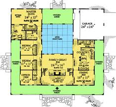 central courtyard house plans u shaped house plans with central courtyard change left wing to 2
