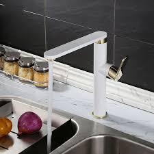 kitchen cabinet sink faucets contemporary white gold brass bathroom kitchen lavatory vanity vessel sink faucet basin mixer tap faucet extended spout