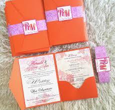 beautiful pocket tri fold wedding invitation in fuchsia and