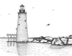 graves lighthouse boston drawing by tim murray