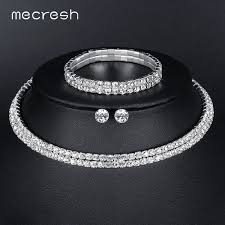 wedding jewelry bracelet crystal images Mecresh silver color circle crystal bridal jewelry sets african jpeg