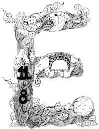 Lettre E zendoodle jeux coloriage à imprimer gratuit  Artherapieca