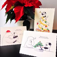 panda christmas cards chrismast cards ideas