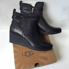 34 ugg boots ugg authentic emalie leather wedge boots sz 10