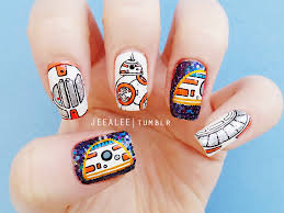 bb 8 nails star wars the force awakens nail art by jeea lee