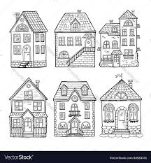 cute little house cute little houses and different roofs doodle vector image