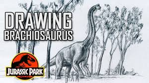 drawing jurassic park brachiosaurus scene youtube