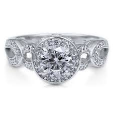 deco engagement ring berricle sterling silver cut cz halo deco engagement