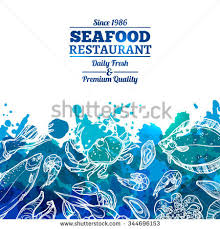 seafood restaurant seafood background watercolor effect stock