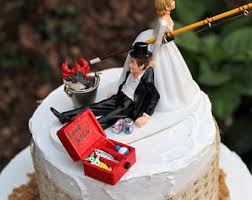 fishing wedding cake topper fishing boat and fish bride and