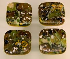 Glass Wardrobe Door Knobs by Fused Glass Knobs U2013 Greens Mix Akb16911a U2013 Decorative Colored Art