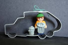 garbage truck ornament trash collector can dumpster metal