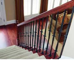 Wooden Stair Banisters Decorations Wrought Iron Balusters With Varnished Red Wood Stair
