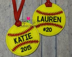 personalized softball glitter ornament ornament