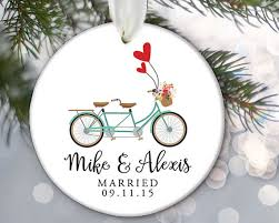 just married tandem bicycle personalized ornament just