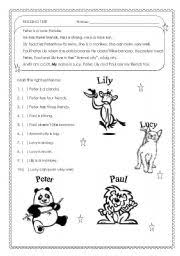 english worksheets real beginners kids adults reading test