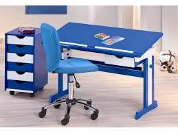 le de bureau pour enfant pour enfant design blanc et bleu avec plateau relevable paco