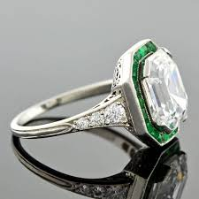 and emerald engagement rings deco colorless 3 63 carat emerald cut engagement ring