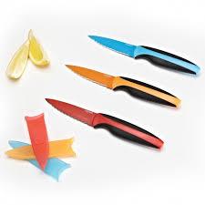 Coloured Kitchen Knives Set Paderno Colour Edge Serrated Paring Knife With Sheath Orange