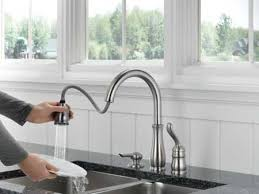 single handle pulldown kitchen faucet delta faucet 978 sssd dst leland single handle pull kitchen