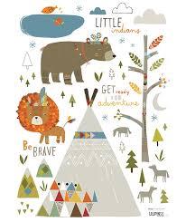stickers animaux chambre bébé indians themes deco