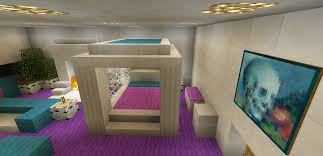 minecraft bedroom pink purple furniture canopy bed fireplace