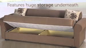 elita s three seat sofa sleeper with storage in rainbow brown
