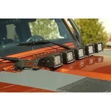 jeep jk hood led light bar rugged ridge 11232 05 hood light bar kit 5 cube led lights 07